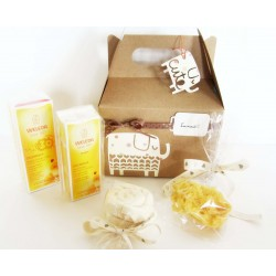 Gift idea for babies with WELEDA creams, natural sponge and bib | UNISEX version