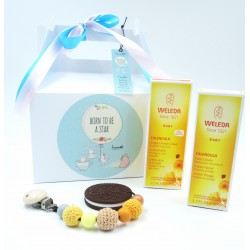 """Gift idea for newborns with WELEDA creams and a silicone nipple holder/teether with a """"sweet"""" Oreo! 