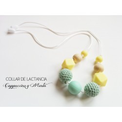 """Breastfeeding Necklace """"Menta and Cappuccino"""" + Gift Box"""