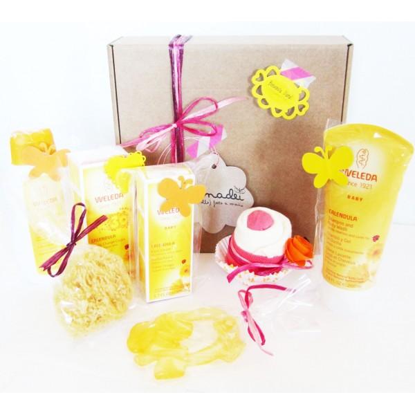 WELEDA Gift Idea with 4 Weleda Products + Cupcake + Sponge + Teether