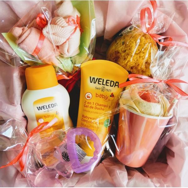 MAXI Canastilla con Productos WELEDA y Accesorios de Bebé | Disponible en Versión para Niños, Niñas y Unisex