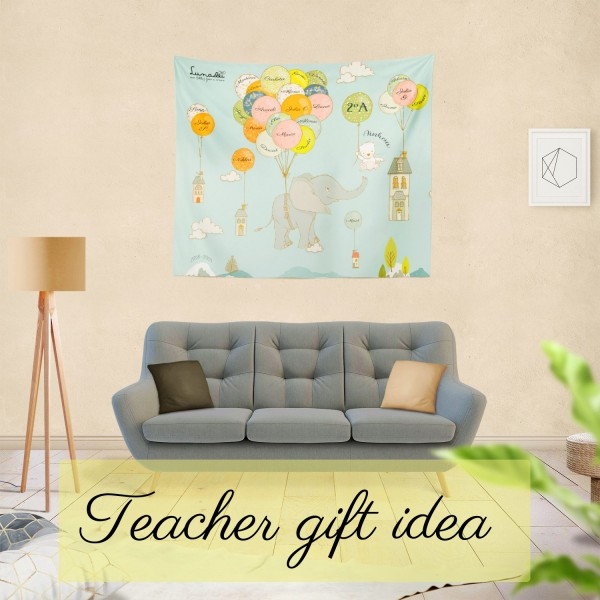 Original Gift Idea for Teachers: Blanket with the Names of the Students, the Teacher, School Year, etc.