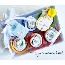 Elegant Box with 6 Cupcakes made with Diapers | Available in Baby-Girls, Baby-Boys or Unisex version